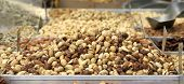 mixed nuts on display in market