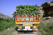 truck load of bananas, hampi, india