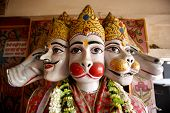 Hanuman incarnations heads in hanuman temple in delhi