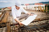 Engineering Details - Civil Construction Engineer Working On Building Site poster