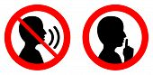 Keep Quiet / Silent Please Sign. Crossed Person Talking / Shhh Icon In Circle. poster