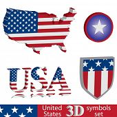 3D United States of America symbol set. Flag, map, shield badge.