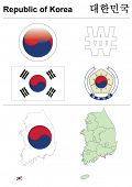 South Korea (Republic of Korea) collection including flag, map (administrative division), symbol, currency unit & glossy button