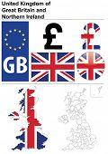 Raster version (vector available in my portfolio) of United Kingdom collection including flag, plate, map (administrative division), symbol, currency unit, glossy button.