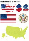 United States collection including flag, plate, map (administrative division), symbol, currency unit