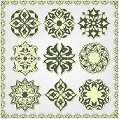 Oriental style ornament elements. Sticker style