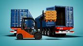 Freight, Package Packaging, Warehouse Logistics And The Concept Of Loading And Unloading Cargo, Two  poster