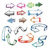 colorful arrow sketch/doodle set