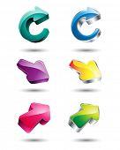 set of 3D glossy arrow icon