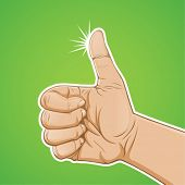 hand thumbs up with green background