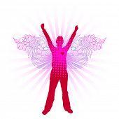 pink modern angel poster