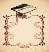picture of lithographic  - Frame with mortarboard in 18th century style - JPG