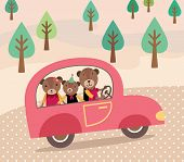 Happy Family on Car for Vocation. Cute Bears Family. Vector illustration.