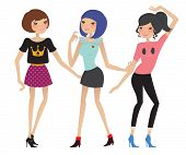 Beautiful Fashion Girls Dancing. Vector Illustration.