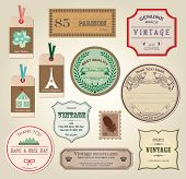 Illustration Retro Label, Bookmarks, Tags for Stickers - Vector Illustration