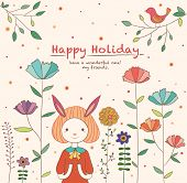 Lovely Rabbit Girl in the Flower Garden. Happy Holiday Card Design.