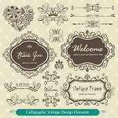 Calligraphic vintage design elements