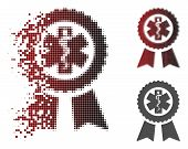 Achievement Medical Seal Icon In Dispersed, Pixelated Halftone And Undamaged Whole Variants. Particl poster