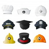 picture of chefs hat  - illustration of set of hat from different professions on isolated background - JPG