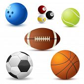 illustration of set on sports ball on white background