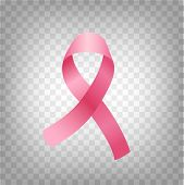 October Breast Cancer Awareness Month Vector Poster. Realistic Pink Ribbon Illustration For Medical  poster