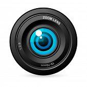 illustration of eye balls in camera lens on white background