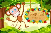 illustration of monkey jumping in jungle with floral sign board
