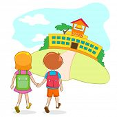 illustration of kids going to school holding hand