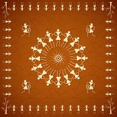 illustration of people dancing in warli art style on abstract background