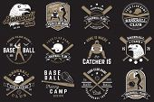Set Of Baseball Or Softball Club Badge. Vector Illustrator. Concept For Shirt Or Logo, Print, Stamp  poster