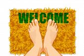 illustration of pair of feet on door mat with welcome on it