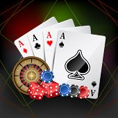 picture of poker machine  - illustration of playing card with poker and roulette - JPG