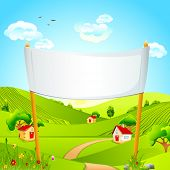 illustration of banner in natural landscape with hut