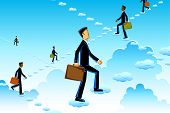 illustration of business man rising on cloud stairs
