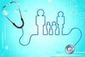 pic of emergency treatment  - illustration of family icon with stethoscope on abstract medical background - JPG
