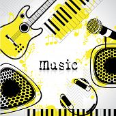 illustration of guitar,microphone,headphone and keypad on musical background