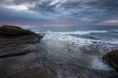 Seascape During Sunrise. Beautiful Natural Seascape, Blue Hour. Sea Sunrise At The Black Sea Coast.  poster