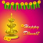 illustration of diwali diya stand with flower decoration