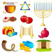 foto of sukkot  - illustration of set of element for hanukkah and chanukah - JPG