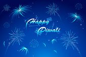 illustration of diwali wish with firework in night sky