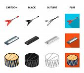 Musical Instrument Cartoon, Black, Outline, Flat Icons In Set Collection For Design. String And Wind poster