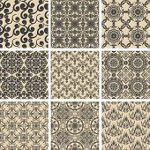 set of 9 seamless patterns. Vector