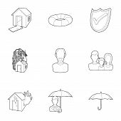 Accident Icons Set. Outline Illustration Of 9 Accident Icons For Web poster