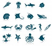 stock photo of crustacean  - Ocean Life Icon Set - JPG