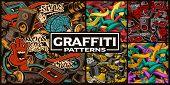 Set Of Seamless Patterns With Graffiti Art poster