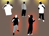 Set of gangsta 5 poses and attitudes. Ideal for street and/or hip hop oriented design, files in eps