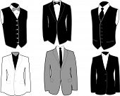 Set of tuxedos in black and white, easily editable, separated on layers.