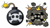 Cartoon bomb exploding. Both elements in different layers for easy editing.