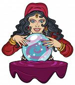 picture of clairvoyance  - Fortune teller watching crystal ball - JPG
