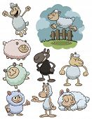 Cute cartoon sheep. All in separate layers for easy editing.
